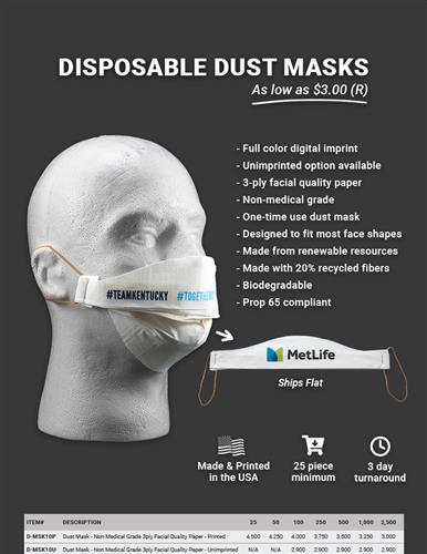 NEW Disposable dust masks