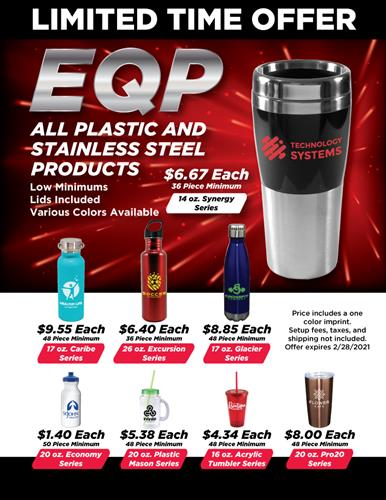 EQP On All Stainless Steel and Plastic Drinkware