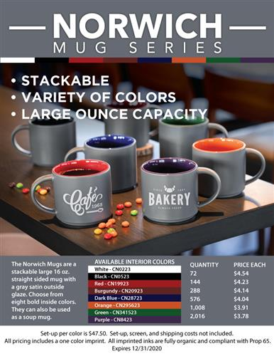 Promo Stackable Coffee Mugs - 8 Bold Colors