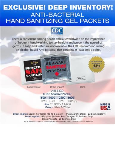 Gel packets keep hands sanitized and everyone healthy Come blank or imprinted
