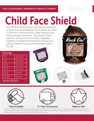 Fully customizable child face shields