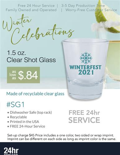 Heavy Bottom Clear Shot Glass Free 24 Hr Svc