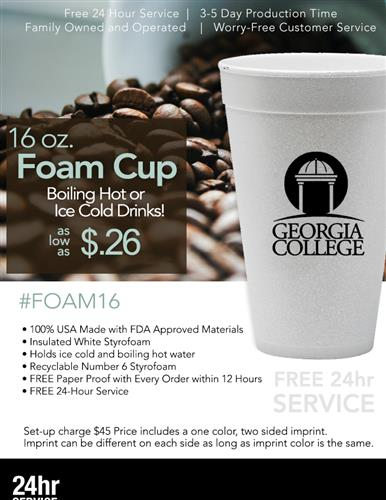 Low Cost Disposable Foam Cup Sale w/Free 24Hr Svc