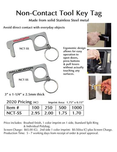 Stainless Steel Non-Contact Tool key tag