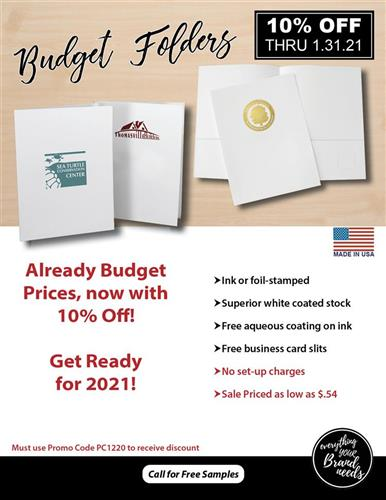 10 Off Already Low Budget Folder Prices
